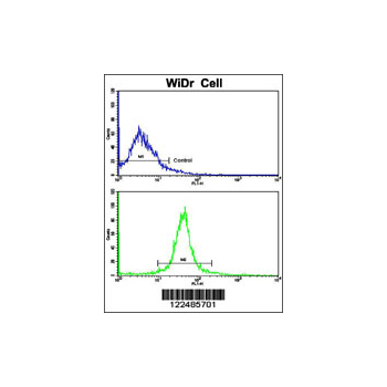 ADIPOR1 antibody - C-terminal region (OAAB05226) in WiDr cells using Flow Cytometry